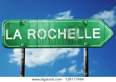 la rochelle road sign, 3D rendering, vintage green with clouds b