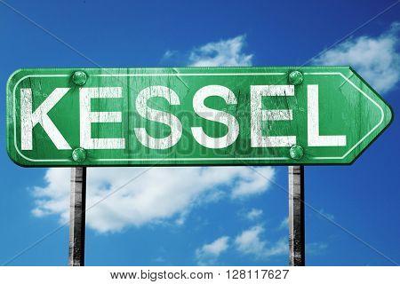 Kessel road sign, 3D rendering, vintage green with clouds backgr