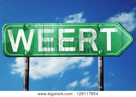 Weert road sign, 3D rendering, vintage green with clouds backgro