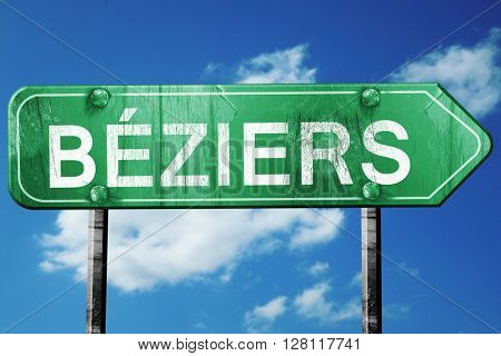 Beziers road sign, 3D rendering, vintage green with clouds backg
