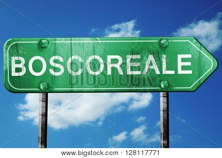 Boscoreale road sign, 3D rendering, vintage green with clouds ba