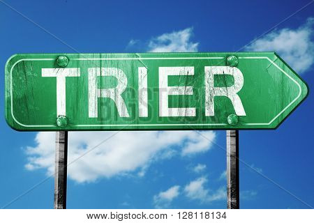 Trier road sign, 3D rendering, vintage green with clouds backgro