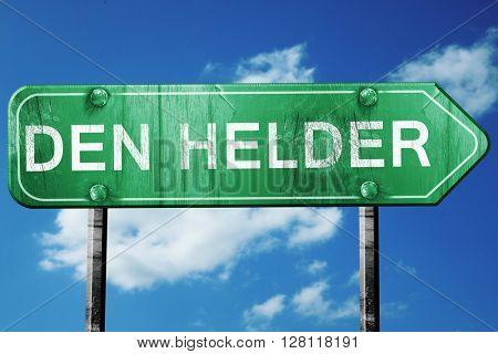 Den helder road sign, 3D rendering, vintage green with clouds ba