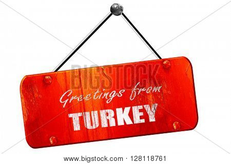 Greetings from turkey, 3D rendering, vintage old red sign