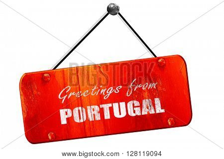 Greetings from portugal, 3D rendering, vintage old red sign