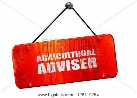 agricultural adviser, 3D rendering, vintage old red sign