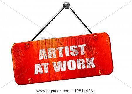 artist at work, 3D rendering, vintage old red sign