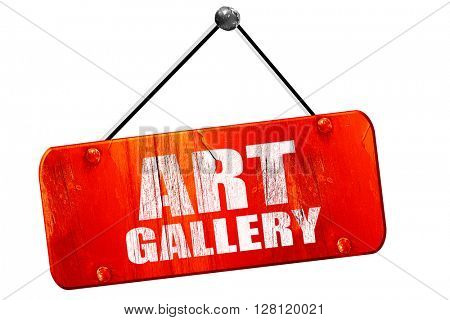 art gallery, 3D rendering, vintage old red sign