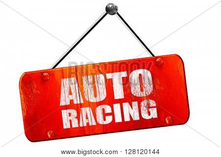 auto racing, 3D rendering, vintage old red sign