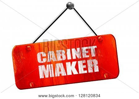 cabinet maker, 3D rendering, vintage old red sign