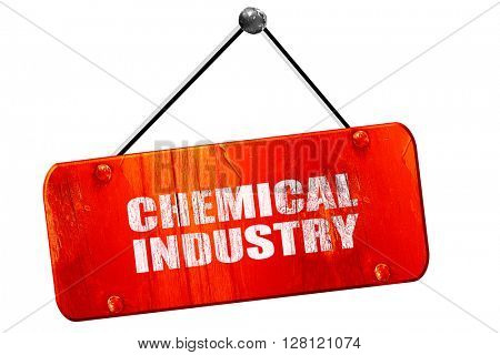 chemical industry, 3D rendering, vintage old red sign