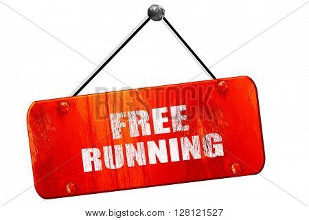 free running sign , 3D rendering, vintage old red sign