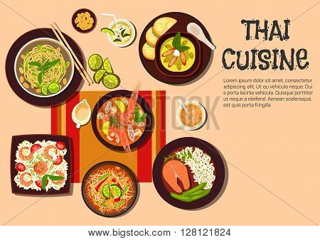 Popular dishes of exotic thai cuisine icon with flat symbols of spicy shrimp soup, green papaya salad, salmon steak, fried noodles with cashew nuts and fresh lime, spicy green curry, fried rice with prawns, sauces and fruit beverages with ice