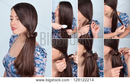 simple hairstyle self tail with bow for long hair tutorial. Hairstyle for long hair. Hair model brunette