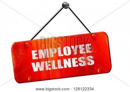 emplyee wellness, 3D rendering, vintage old red sign