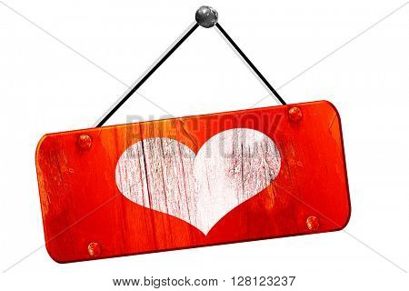 Hearts card , 3D rendering, vintage old red sign