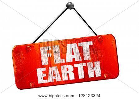 flat earth, 3D rendering, vintage old red sign