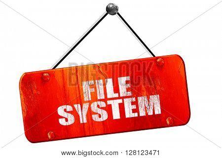 file system, 3D rendering, vintage old red sign