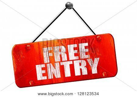 free entry, 3D rendering, vintage old red sign