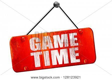 game time, 3D rendering, vintage old red sign