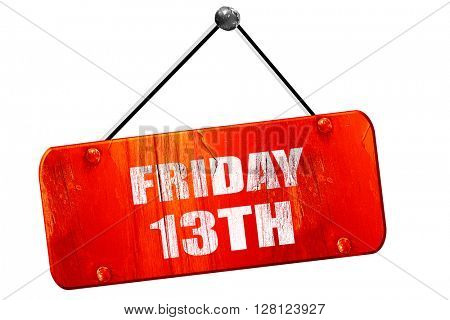 friday 13th, 3D rendering, vintage old red sign