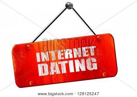 internet dating, 3D rendering, vintage old red sign