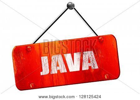 java, 3D rendering, vintage old red sign