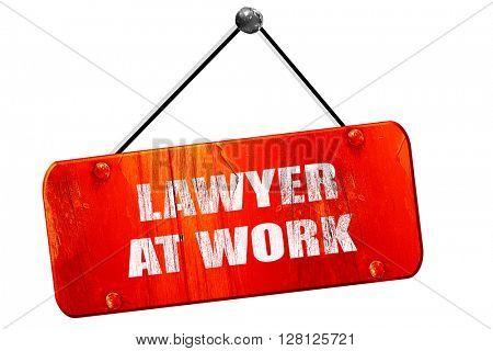 lawyer at work, 3D rendering, vintage old red sign