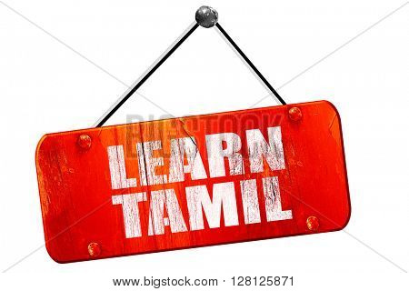 learn tamil, 3D rendering, vintage old red sign