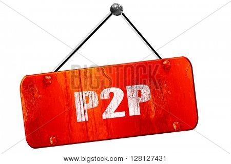 p2p, 3D rendering, vintage old red sign