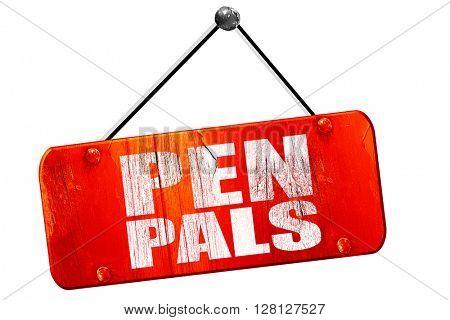 pen pals, 3D rendering, vintage old red sign