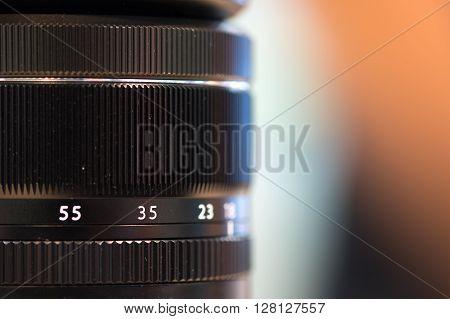 Close up of camera lens diameter. focus ring.