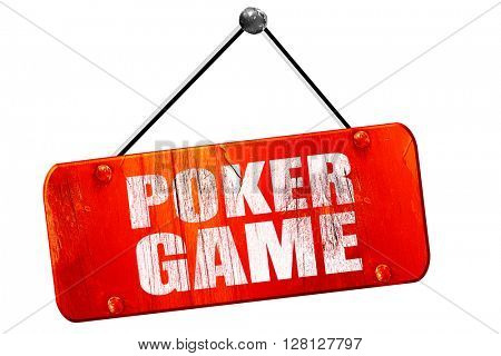 poker game, 3D rendering, vintage old red sign