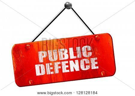 public defence, 3D rendering, vintage old red sign
