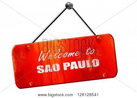 Welcome to sao paulo, 3D rendering, vintage old red sign