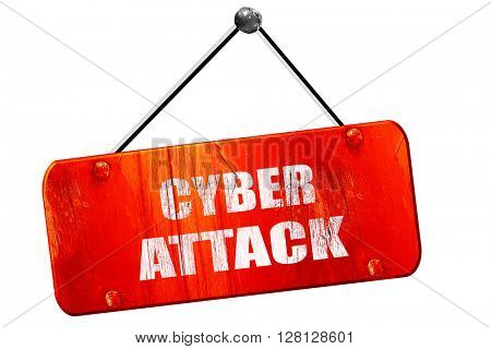 Cyber attack , 3D rendering, vintage old red sign