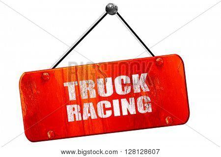 truck racing , 3D rendering, vintage old red sign