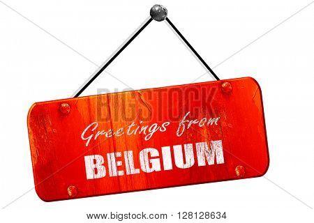 Greetings from belgium, 3D rendering, vintage old red sign