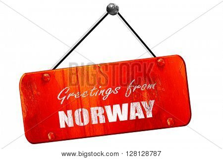 Greetings from norway, 3D rendering, vintage old red sign