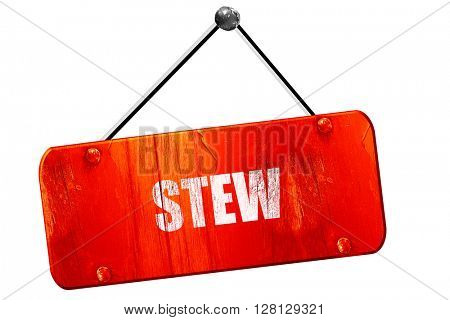 Delicious stew sign, 3D rendering, vintage old red sign