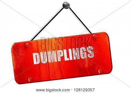 Delicious dumplings sign, 3D rendering, vintage old red sign
