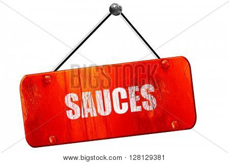 Delicious sauces sign, 3D rendering, vintage old red sign