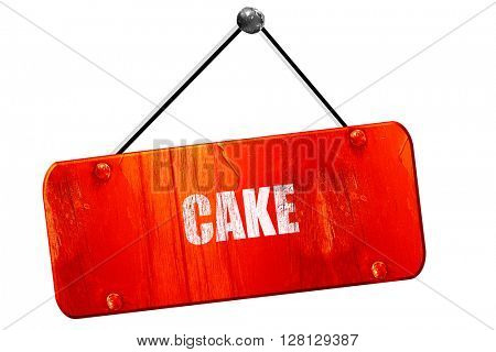 Delicious cake sign, 3D rendering, vintage old red sign