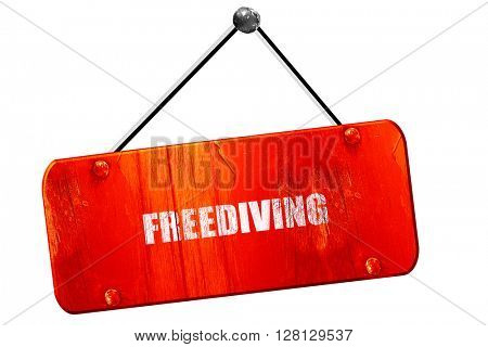freediving sign , 3D rendering, vintage old red sign