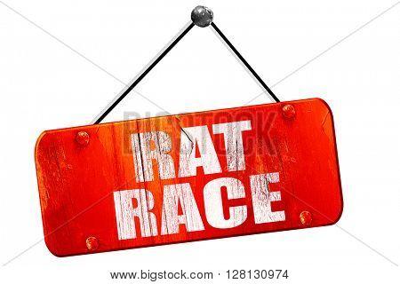 rat race, 3D rendering, vintage old red sign