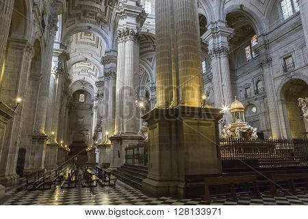 Jaen, Spain - may 22016: Detail pillars cruciform Corinthians in the area of the dame main, churrigueresque style and neoclassical, works of Andres de Vandelvira, influence that he exercised in many churches built in America, Spain