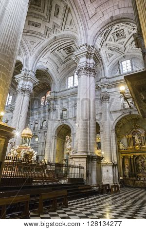 Jaen - Spain, may 2016, 2: Inside view of the Cathedral in Jaen, central dome of cruise, work of the architect  Juan de Aranda and Salazar, it has a circumference adorned with twelve meters in the drum and fifty meters high, Jaen, Spain