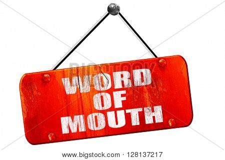 word of mouth, 3D rendering, vintage old red sign