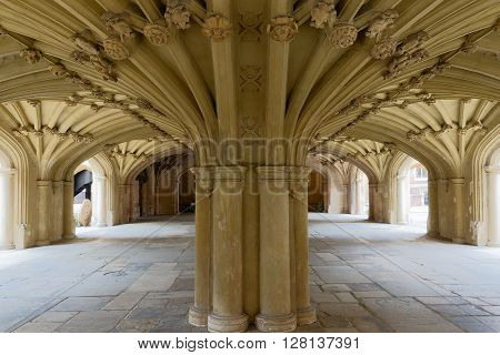 Architecture details - Lincolns Inn vaulted ceiling. The Honourable Society of Lincoln's Inn is one of four Inns of Court in London to which barristers of England and Wales belong and where they are called to the Bar. poster