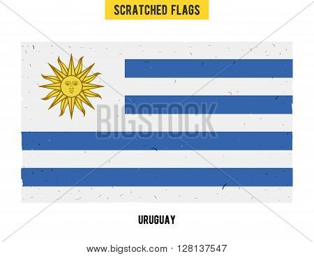 Uruguayan grunge flag with little scratches on surface. A hand drawn scratched flag of Uruguay with a easy grunge texture. Vector modern flat design.